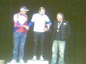 Stu Smith collecting his Bronze medal